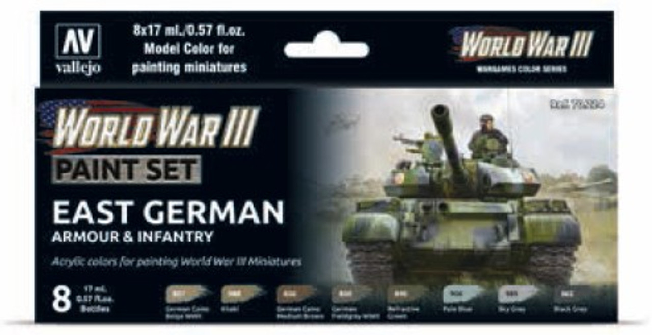 East German Armour & Infantry WWIII Wargames Paint Set (8 17mL Colors)  Vallejo Paint