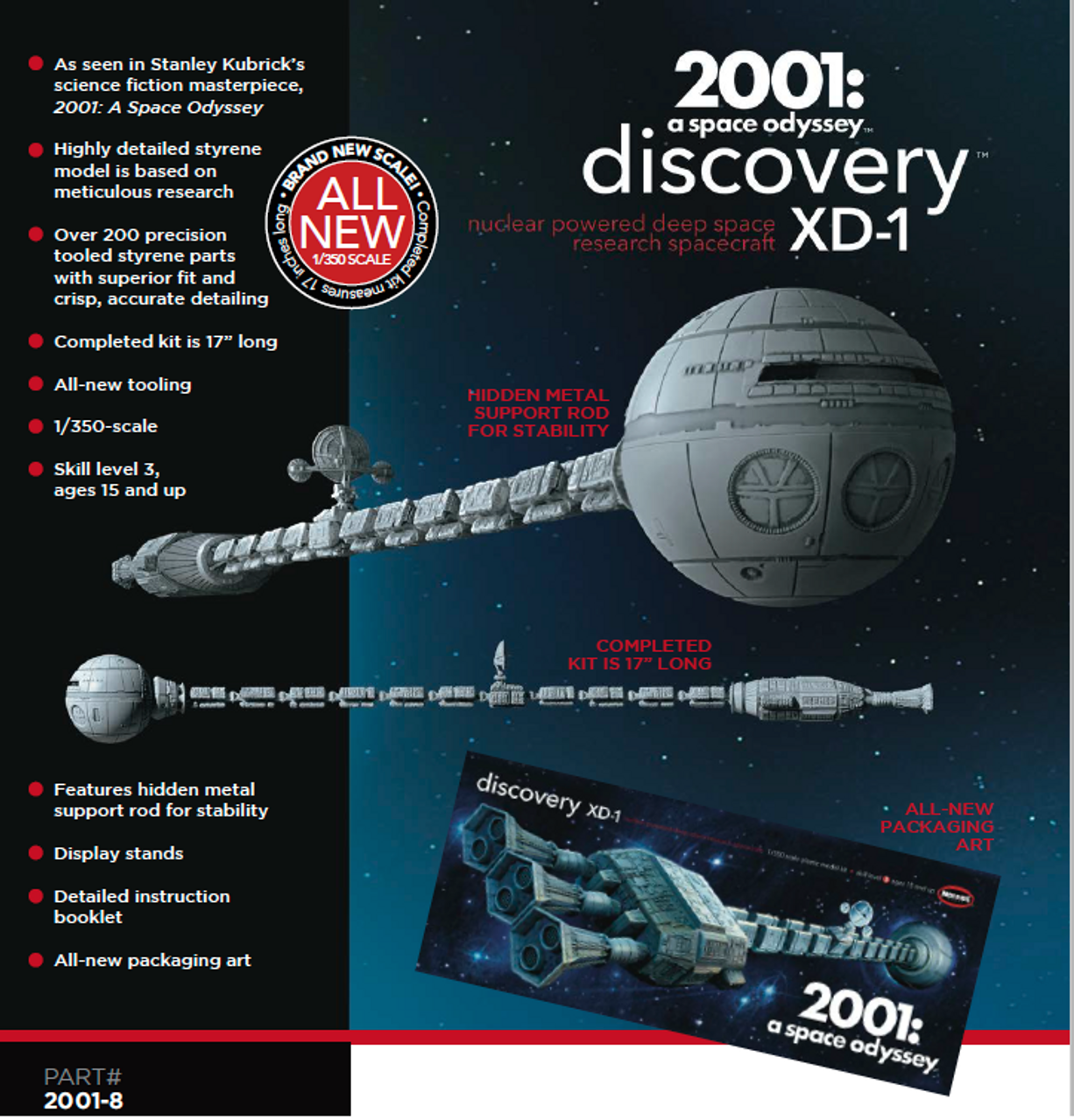 Space Odyssey 1//350 Discovery XD-1 MOE2001-8 Moebius 2001