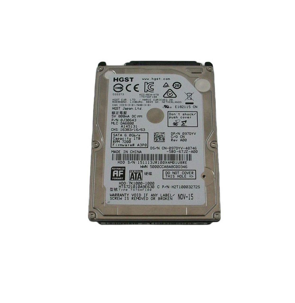 Dell 97DYV 1TB 7200RPM 6GB/S SATA Disk Drive