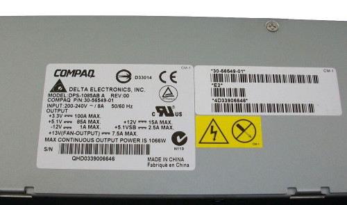 HP 3X-H7514-AA Alphaserver ES45 1085W Power Supply 30-56549-01