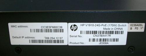 HP V190-24G-PoE (170W) 24 Port Network Switch JE008A