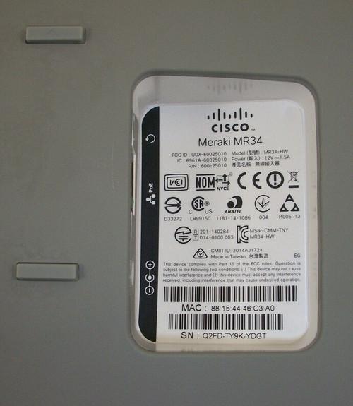 Cisco Meraki MR34 Cloud Managed 802.11ac AP Unclaimed MR34-HW 600-25010