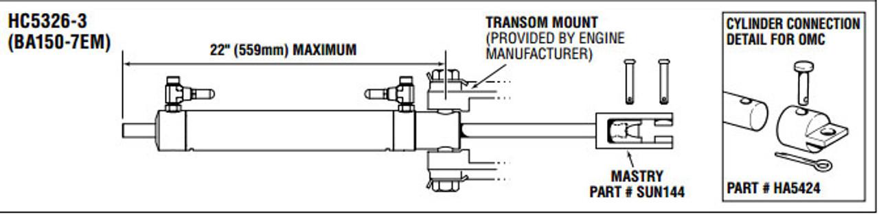 SeaStar HC5326-3 Sterndrive BA150-7EM Hydraulic Steering Cylinder
