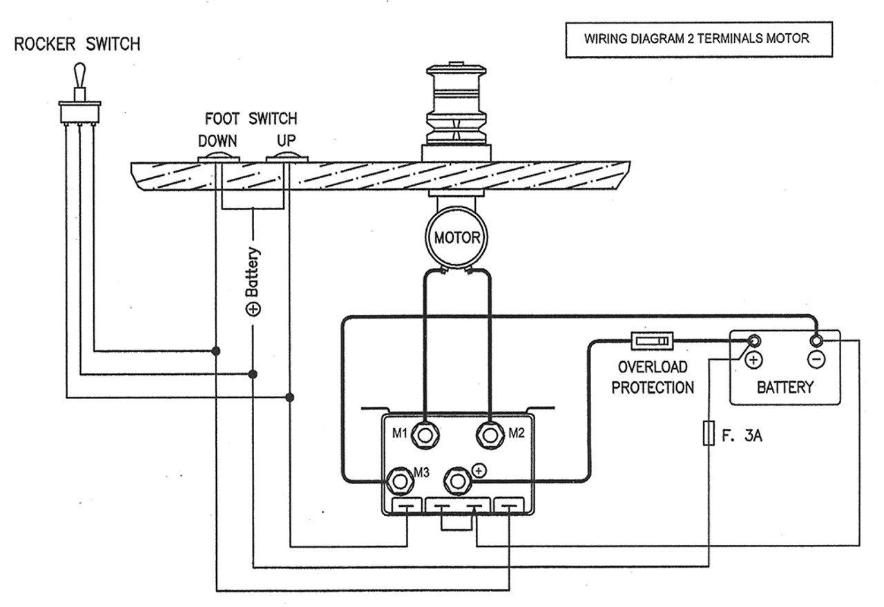 imtra watertight windlass control box 12 volt dc for 2 and 4 wire VHF Antenna Wiring Diagram wiring diagram for 2 wire windlass motors