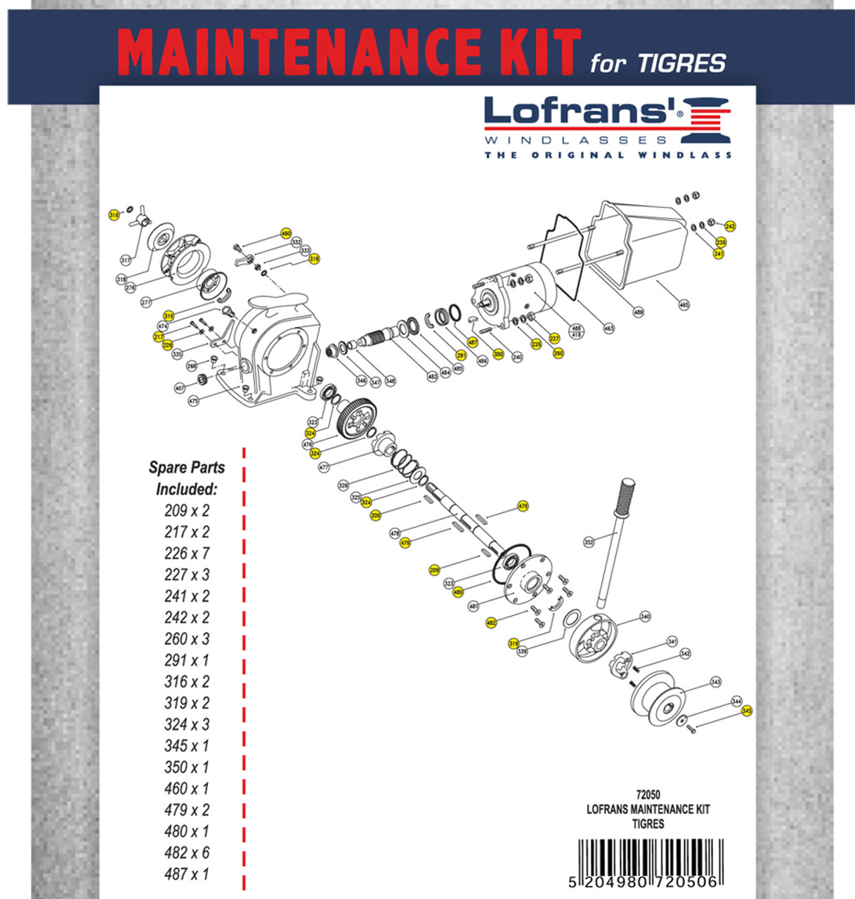 Lofrans LWP72050 Maintenance Kit for Tigres Windlass
