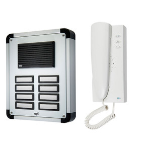 8 Way Audio Door Entry System, Surface or Flush Mounted with an Aluminium Finish