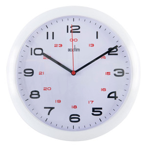 Commercial Clock, 255mm dia, 12/24 Hour, White