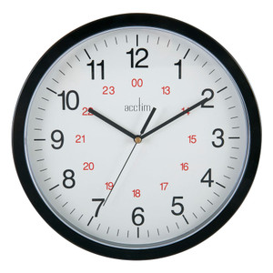 Commercial Clock, 300mm dia, 12/24 Hour, Black