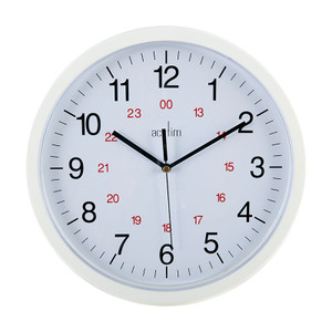 White Clock, 300mm outside diameter, 12/24 hour display