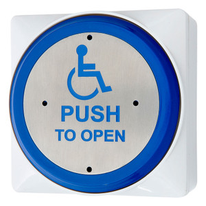 Round stainless steel front plate, with blue rim, wheel chair symbol and push to open, white surface back box