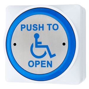 Disabled Exit Button, Door Release Switch, Push to Open and Wheelchair Symbol, 85mm dia, Surface