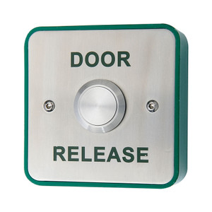 Exit button with green Door Release legend, stainless steel fascia, green surface back box