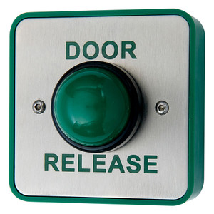 Green Dome Exit Button with DOOR RELEASE legend, Brushed Stainless Steel