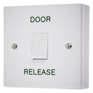 White  Exit button with DOOR RELEASE legend