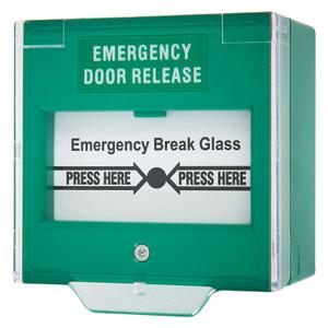 Green Break Glass White Emergency Door Release Legend