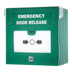 Emergency Door Release in Green Casing with a white Deformable Plastic Window