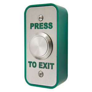 Narrow Press to Exit Button, Stainless Steel, Green High Impact Plastic Surface Back Box