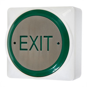 Large White Exit Button, Green Rim, Stainless Steel Button