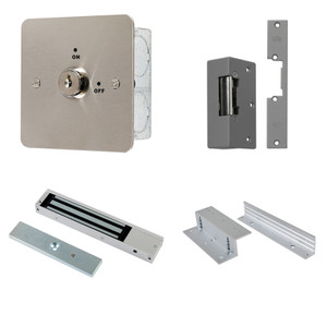 Key Switch Door Release Kit, Maglock, Z & L Brackets, 12V DC Power Supply