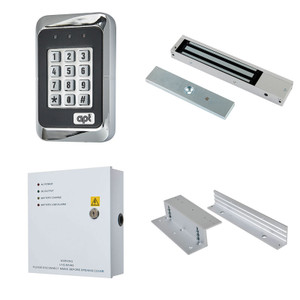 Black and Metal Coded Access Keypad,  Maglock, 12V DC Boxed Power Supply and Z & L brackets
