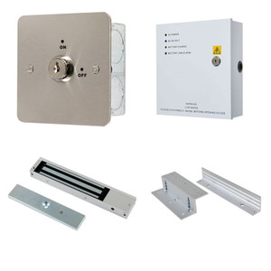 Key Switch Door Release Kit, Maglock, Z & L Brackets, 12V DC Boxed Power Supply