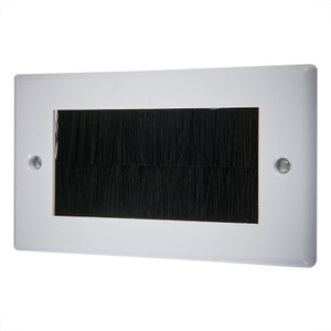 Double Wallplate with Cable Entry,  White/Black