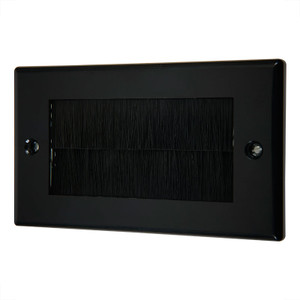 Double Wallplate with Cable Entry, Black/Black