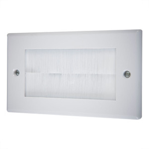 Double Wallplate with Cable Entry, White/White