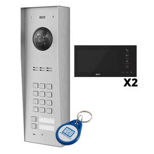 2 Way Video Door Entry KIT. Includes Panel with Keypad and RFID reader, Surface or Flush, 2x Fobs, Video Handset or Monitor and Power Supply.  ACO FAMILIO Range.