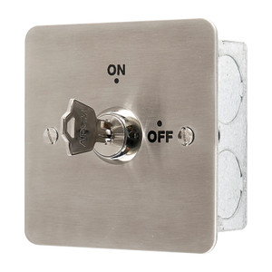 Brushed Stainless Steel Key Operated On/Off Switch with Key