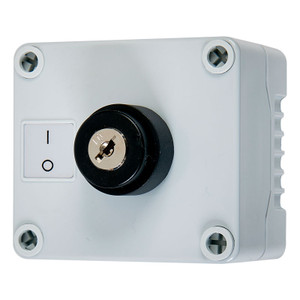 Grey key switch enclosure with black key lock and on, off legend