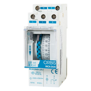ORBIS DIN Rail Modular Timer with Lateral Dial and Protective Clear Window
