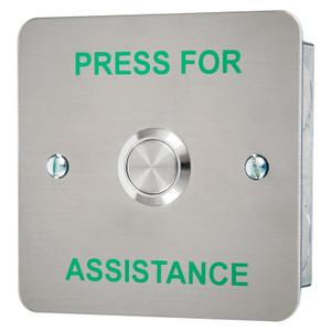 Call button with Green PRESS FOR ASSISTANCE Legend, Brushed Stainless Steel