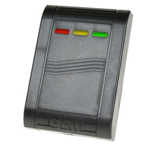 Black Proximity Card and Fob Reader with 3 coloured LED status lights