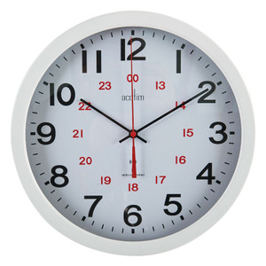 Radio Controlled Clock 300mm dia, 12/24 Hour, White Metal