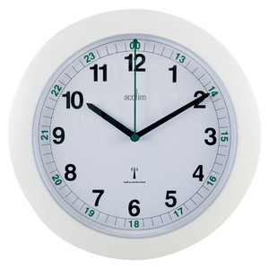 Radio Controlled Clock, 255mm dia, 12/24 Hour, White