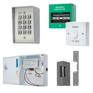 Digital Keypad, Green Break Glass, White Press to Exit Switch. 12V DC Boxed Power Supply, Electric Door Lock