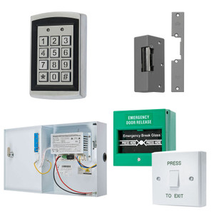 Black on Silver Proximity Keypad, Electric Door Lock, Green Break Glass, White Press to Exit Switch. 12V DC Boxed Power Supply