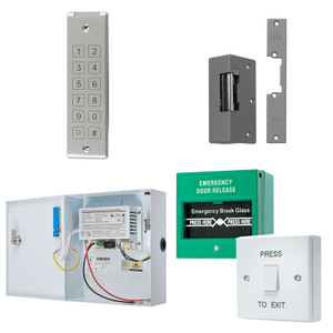 Grey Slimline Digital Keypad, Electric Door Lock, Green Break Glass, White Press to Exit Switch. 12V DC Boxed Power Supply