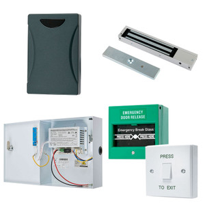 Black Proximity Pad,  Maglock, Green Break Glass, White with Green Press to Exit Button, 12V DC Boxed Power Supply