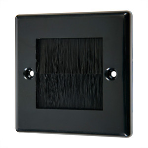 Single Wallplate with Cable Entry, Black/Black