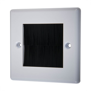 Single Wallplate with Cable Entry, White/Black
