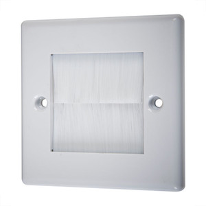Single Wallplate with Cable Entry, White/White