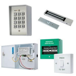 Digital Keypad, Maglock, Green Break Glass, White Press to Exit Switch. 12V DC Boxed Power Supply