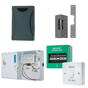 Single Door Kit, Black Proximity Pad,  Green Break Glass, White with Green Press to Exit Button, 12V DC Boxed Power Supply