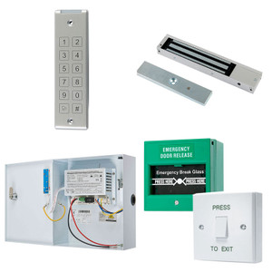 Grey Slimline Digital Keypad, Maglock, Green Break Glass, White Press to Exit Switch. 12V DC Boxed Power Supply