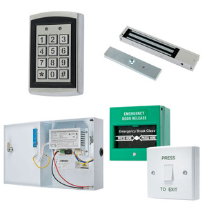 Black on Silver Proximity Keypad, Maglock, Green Break Glass, White Press to Exit Switch. 12V DC Boxed Power Supply