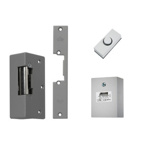 White Push Button, Grey Electric Lock