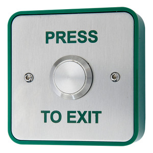Press to Exit Button, Green Surface Box