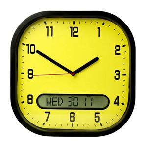 High Contrast Wall Clock, Oversized with Distinct Hands for Easy Reading, 30cm, Yellow